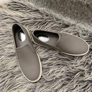 Michael Kors Grey Leather Slip on Sneakers.